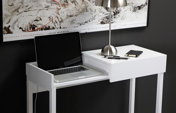 White Compact Desk Displaying Its