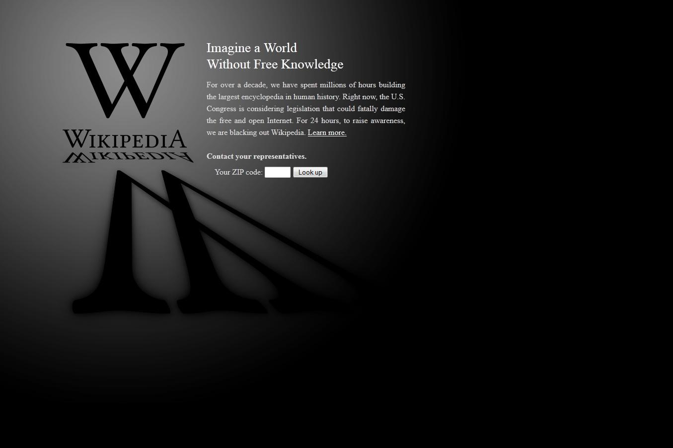 Best About Pages – Showcasing the best of the best about pages on the web » Wikipedia SOPA Blackout Page