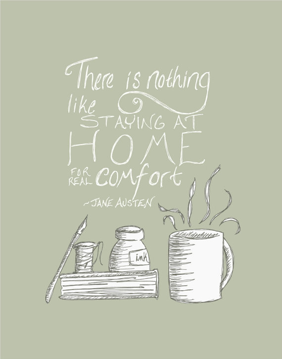 Jane Austen Quote Print 5x7 Home Word Art Coffee by FlourishCafe