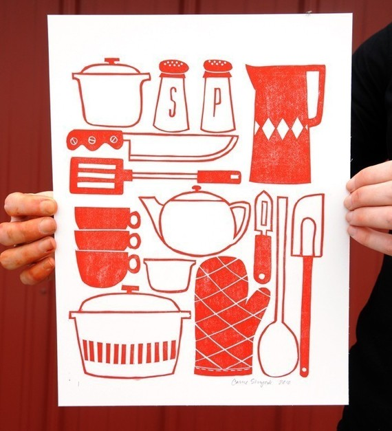 Kitchen Utensils Block Print by 1canoe2 on Etsy