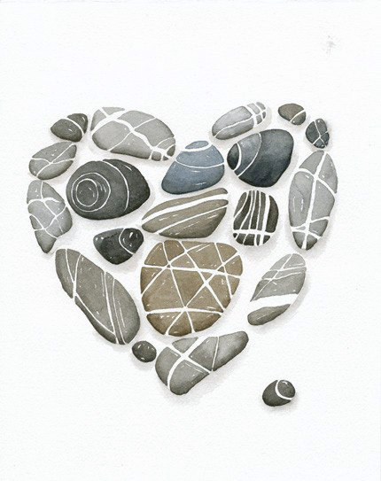 Heart Pebbles No6 Art Print 8x10 Limiterd Ediction by lorisworld