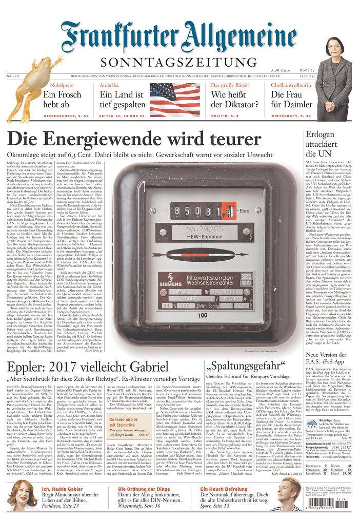 Newseum | Today's Front Pages | Frankfurter Allgemeine Zeitung
