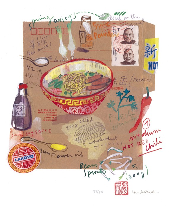 Food art poster The spicy chinese soup recipe by lucileskitchen