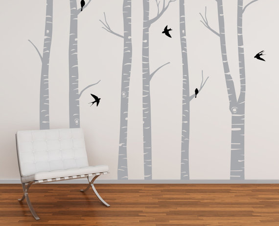 Tree 001 Winter Birch Forest Nursery vinyl wall by therusticword