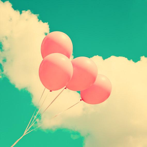 Pink Balloons on Sky Photography Home Decor Nursery by Andrekart