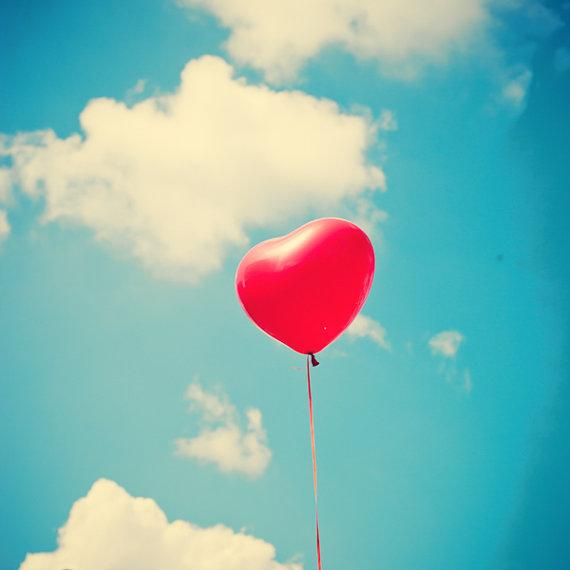 Heart Balloon on Sky Photography Home Decor Nursery by Andrekart