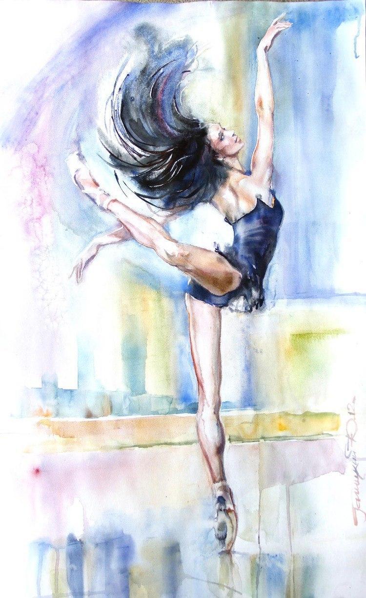 水彩 芭蕾舞女孩