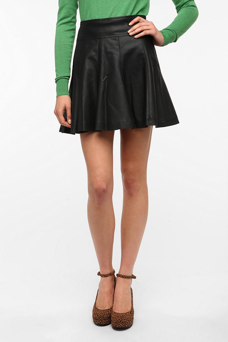 Sparkle & Fade Vegan Leather Skater Skirt - Urban Outfitters