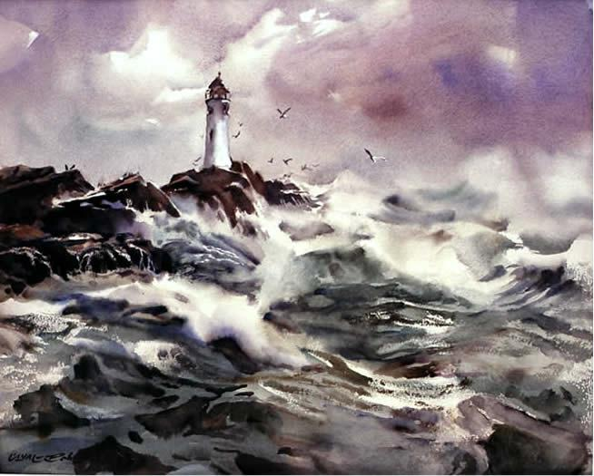 Lighthouse watercolour painting by w. a. roberts