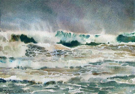 Watercolour seascape, Pacific.