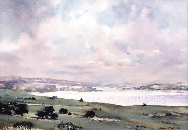 Towards Phillip Island, watercolour painting by Wayne Roberts