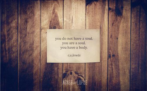 You do not have a soul. You are a soul. You have a body. C.S. Lewis.