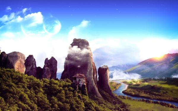 mountains,fantasy fantasy mountains landscapes forest planets houses digital art rivers 2560x1600 wallpaper – mountains,fantasy fantasy mountains landscapes forest planets houses digital art rivers 2560x1600 wallpaper – Fantasy Wallpaper – Desktop Wallpaper
