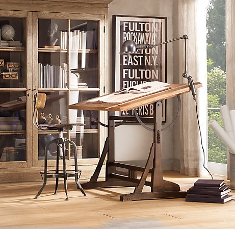 Burnt Corn Crossing, 1920's French Drafting table
