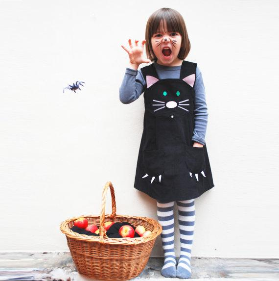 Halloween costume black cat dress by wildthingsdresses on Etsy