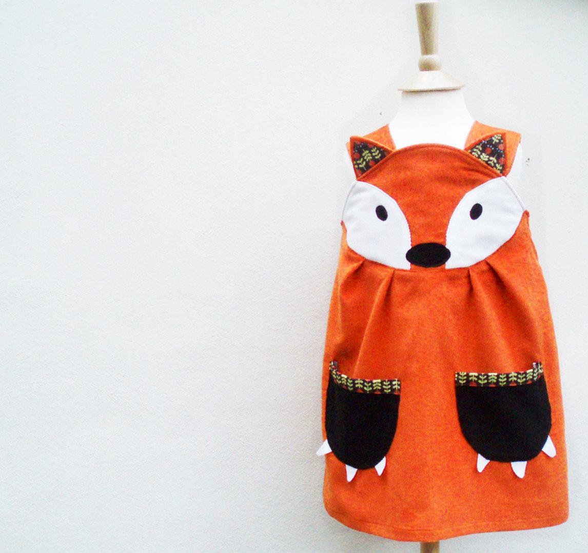 Fox Dress Little girls Halloween play dress by wildthingsdresses