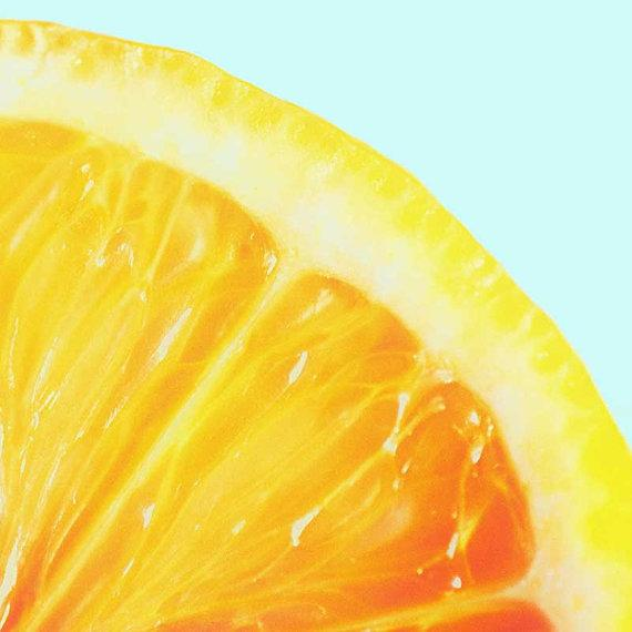 Art for the kitchen Lemon Print Teal Blue by CarlChristensen