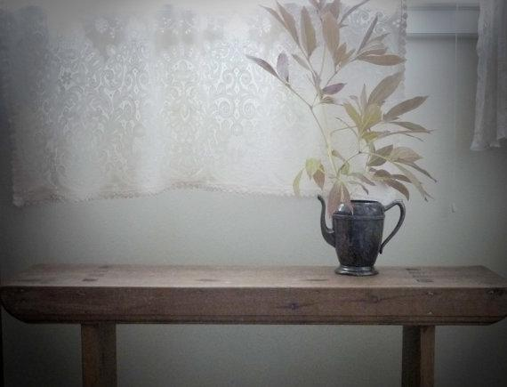 Vintage Lace Tablecloth and Curtain by gardenofsimples on Etsy