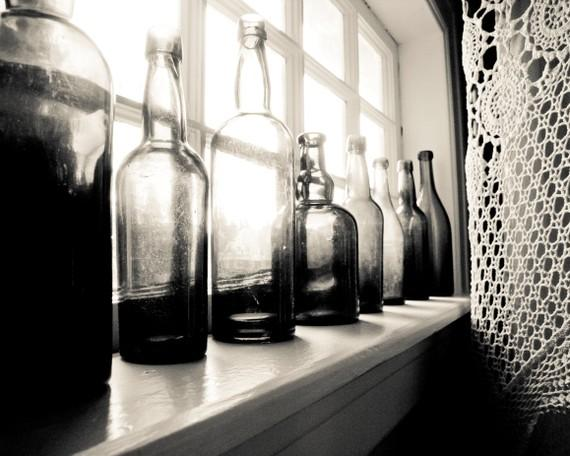Black and White photography Vintage glass bottles by LupenGrainne