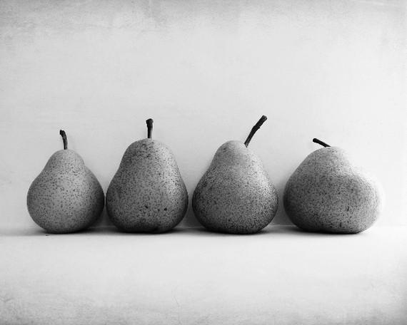 Black and White Photography four pears fruit by LupenGrainne