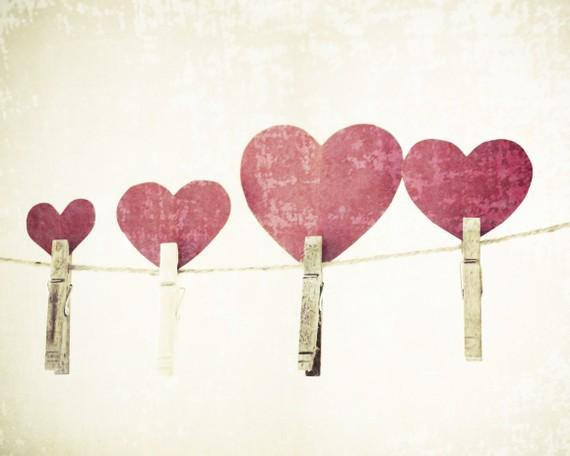 Red hearts photography love clothes line by LupenGrainne on Etsy