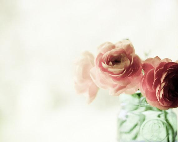 Flower Photography coral pink decor mint jade by LupenGrainne