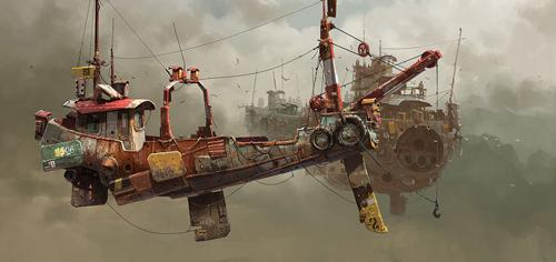 Floating Ship Illustrations by Ian McQue