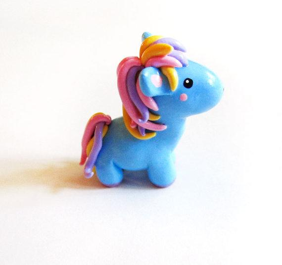 Blue Cotton Candy Miniature Pony Figure by MadAristocrat on Etsy