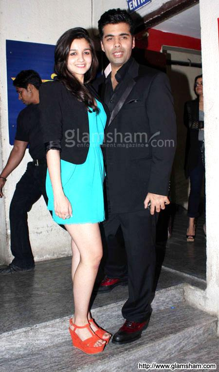 Alia Bhatt & Karan Johar at Bollywood celebs at STUDENT OF THE YEAR special screening event gallery picture # 3 : glamsham.com