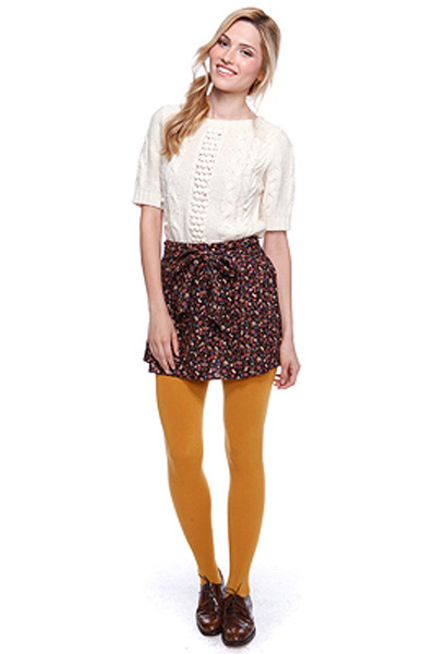 Cream Forever 21 Sweaters, Crimson Forever 21 Skirts, Gold Forever 21 Tights, Ds |