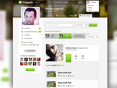 Profile/Social Board Page for a local business site by George Angeloff