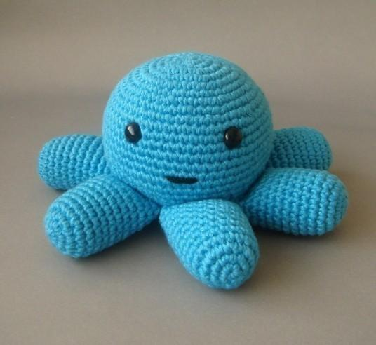 Crocheted blue plush octopus nursery baby boy plush par sabahnur