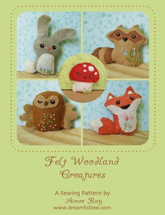 Mini Felt Woodland Creatures plush PDF pattern SET 1 par littledear