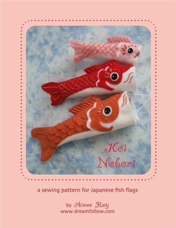 felt embroidered Koinobori fish flag PDF pattern par littledear