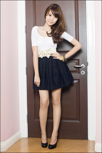 White Zara Tops, Mphosis Skirts, Aldo Shoes, From Singapore Belts |