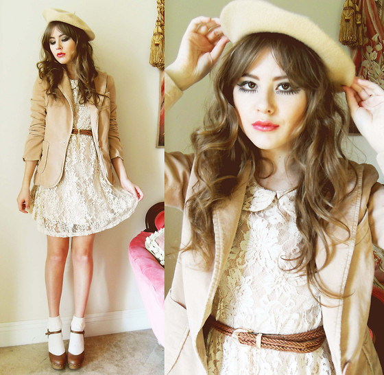 Yes Style Camel Beret, Marc Jacobs Cordoroy Lazer, Chicwish Lace Peter Pan Collar Dress, Natural Colour Woven Belt, Qupid Clog Heels //