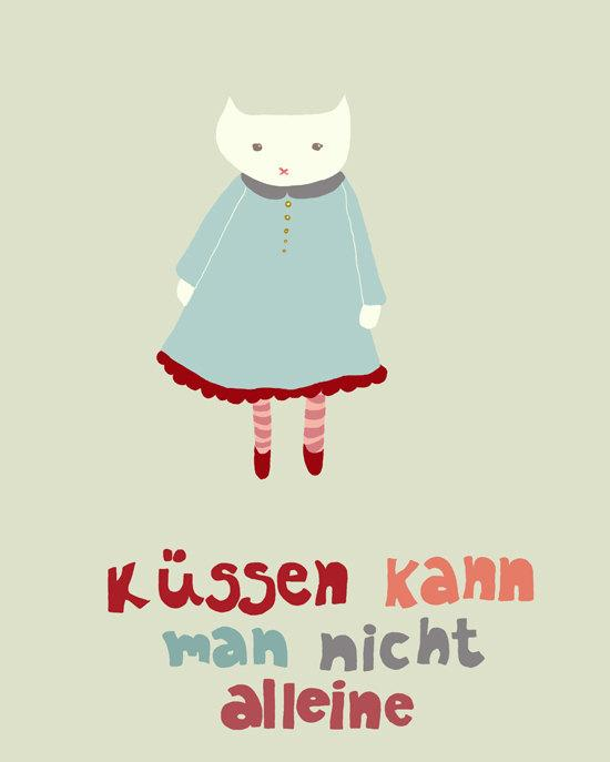 Kissing Art Print 8 x 10 german edition kissing by EinBierBitte