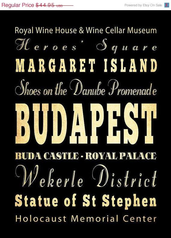 ON SALE Budapest Hungary Typography Art Poster / by LegacyHouseArt