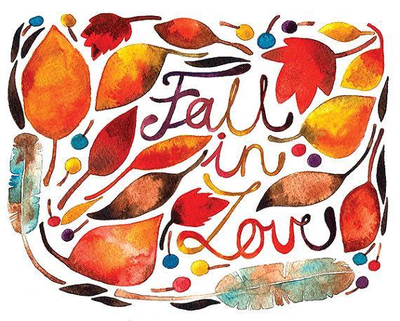 Fall Watercolor Illustration Print Brown by BarbaraSzepesiSzucs