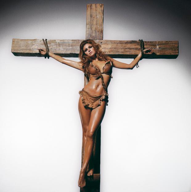 Raquel Welch on a cross, 1960s - Retronaut