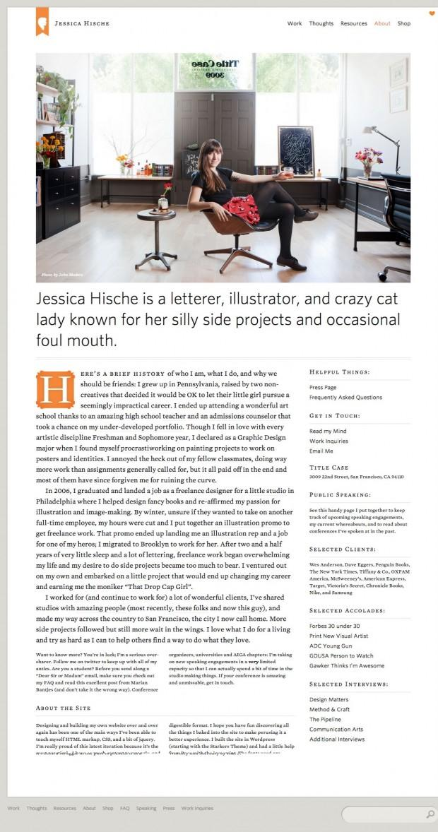 Best About Pages – Showcasing the best of the best about pages on the web » Jessica Hische