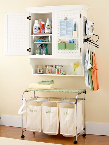 great idea / Laundry storage. Love the cabinet!