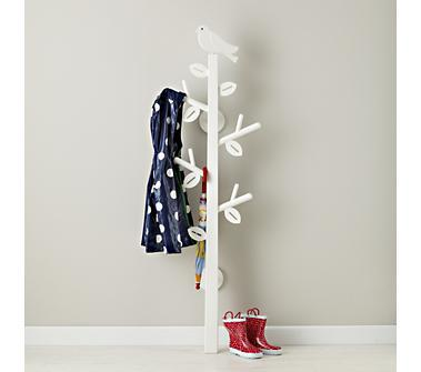 Kids Storage: Kids White Bird Clothes Tree in Floor Storage