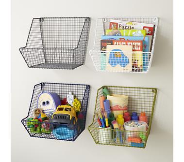 Kids Storage: Wire Wall Storage Bins in Shelf & Wall Storage