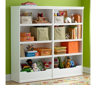 Kids' Bookcases: Kids White Flat Top With Adjustable Shelves Bookcase in Bookcases