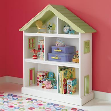 Kids' Bookcases: Kids White Dollhouse Shaped Bookcase in Bookcases
