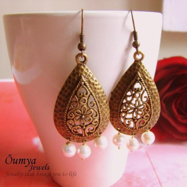 Antique Brass Drop earrings - Craftsia - Indian Handmade Products & Gifts