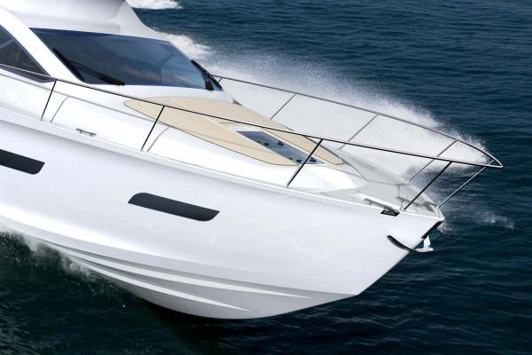 Modern white yacht Intermarine 55 by BMW Designworks USA