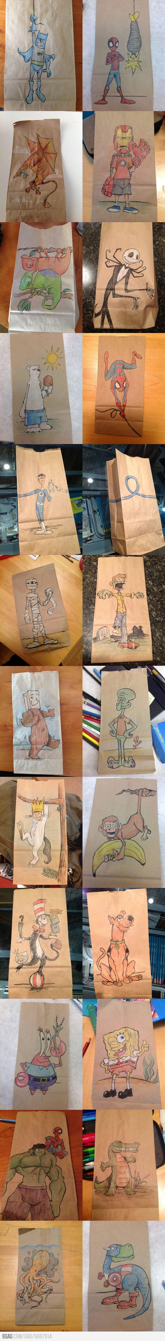 9GAG - Lunch bag drawings from a father