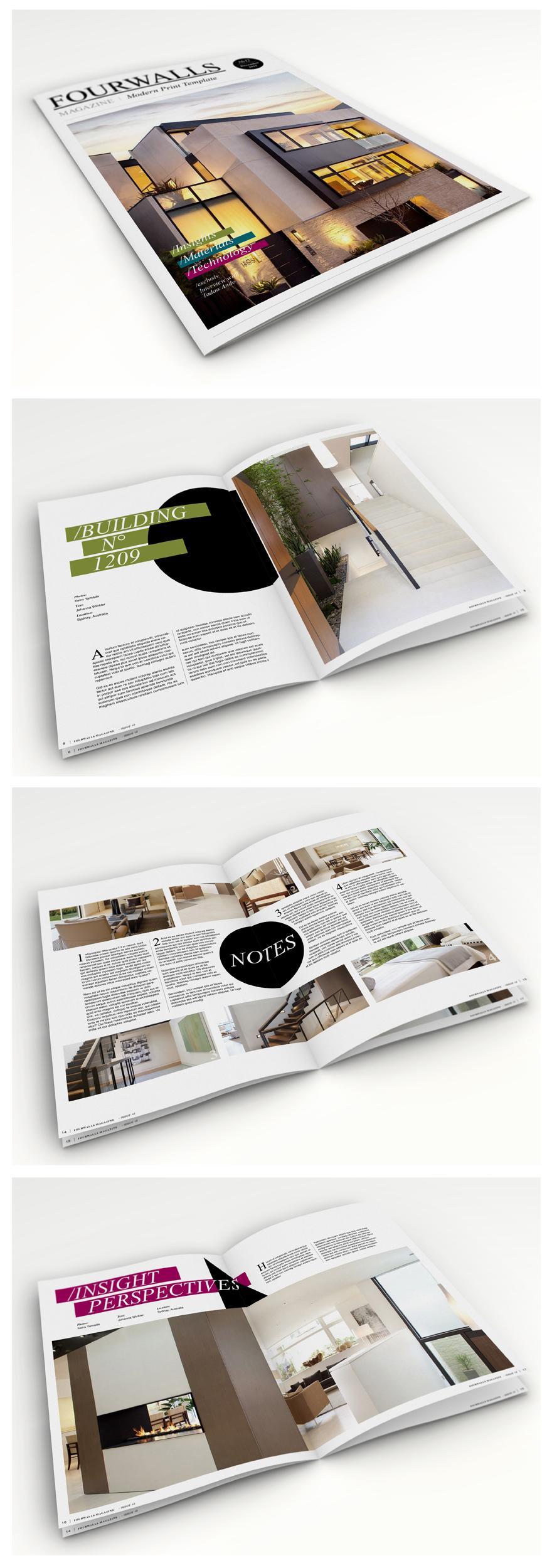 Fourwalls - Modern Print Template - Editorial Design - Creattica